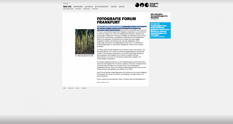 Bild der Website