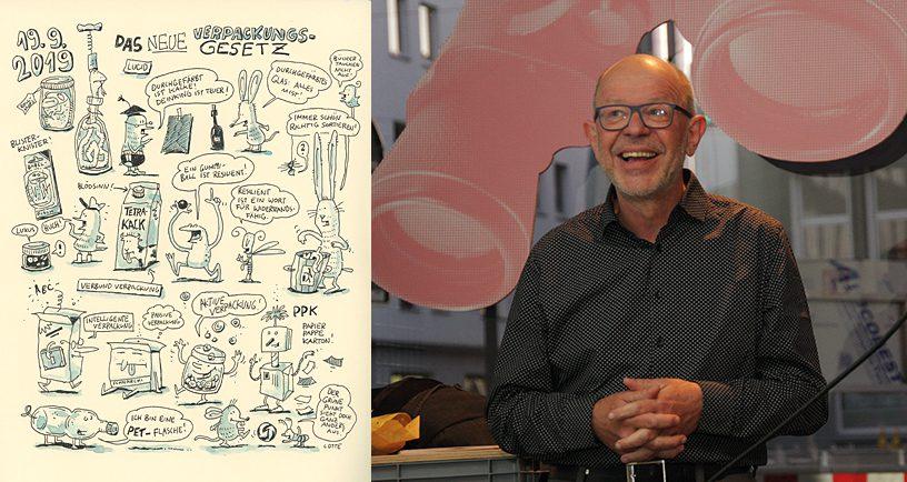 Über das neue Verpackungsgesetz referierte AGD-Botschafter für Nachhaltigkeit Otto Landgraf // Grafic-recording: Verpackungsgesetz © Charlotte Wagner